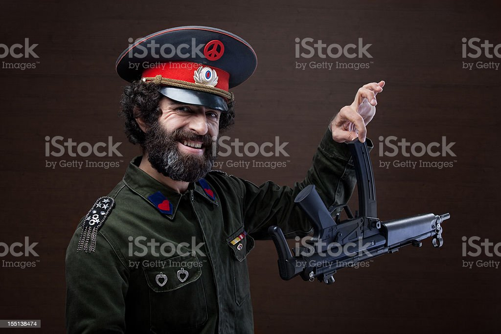 Pacifist military general in uniform. stock photo