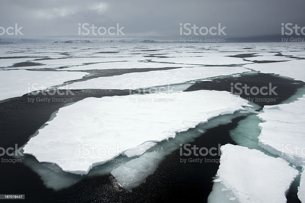 pack ice on the Arctic Ocean Svalbard stock photo