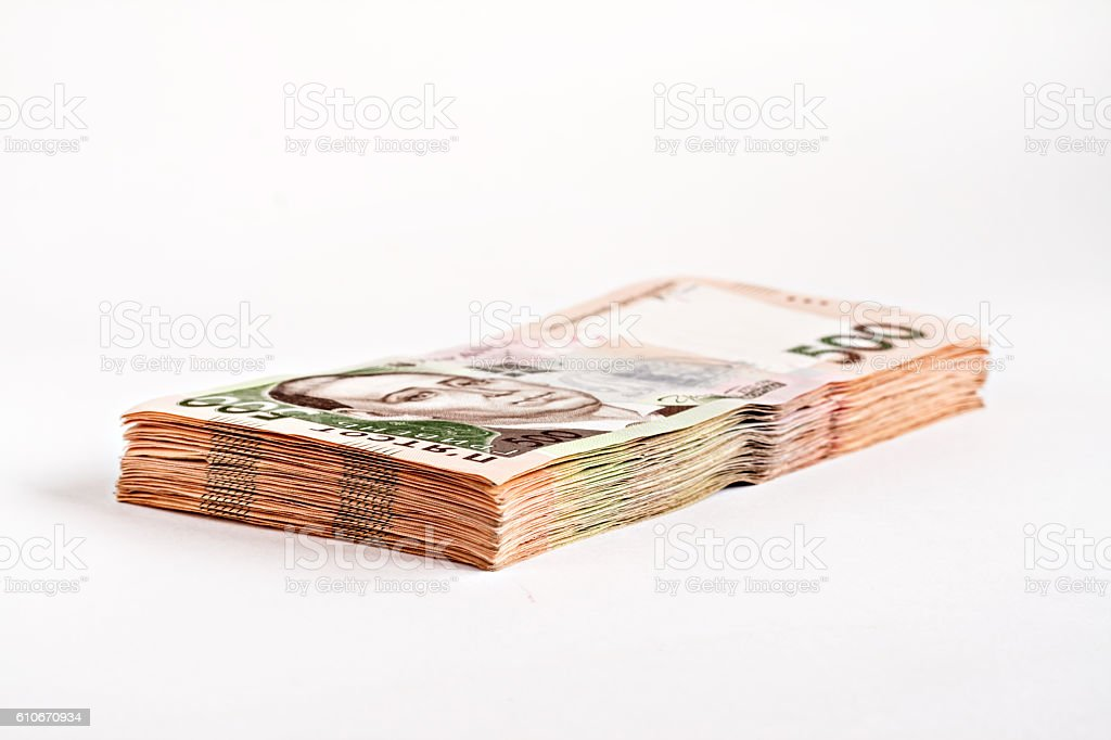 pack of 500 hryvnia isolated stock photo