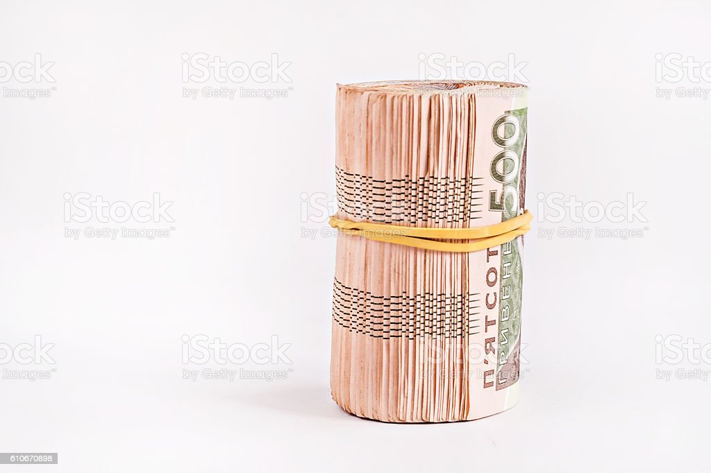 pack of 500 hryvnia rolled stock photo
