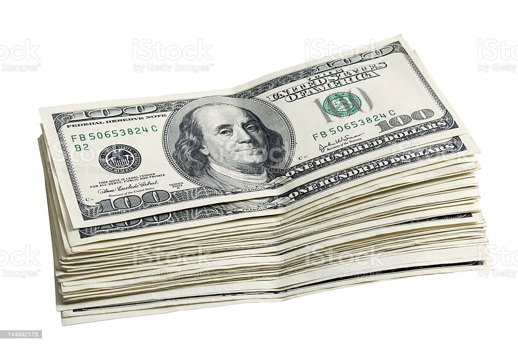 Pack of a 100 dollars royalty-free stock photo