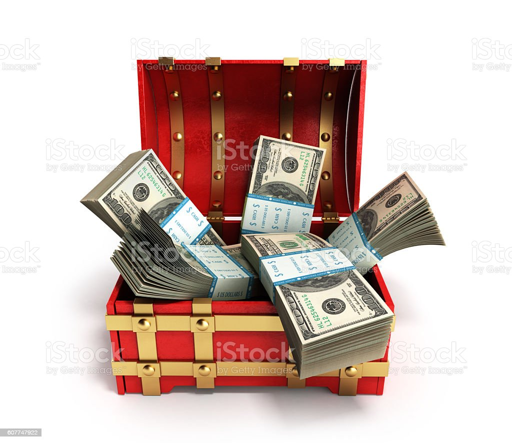 pack of dollar bills inside a red wooden chest stock photo