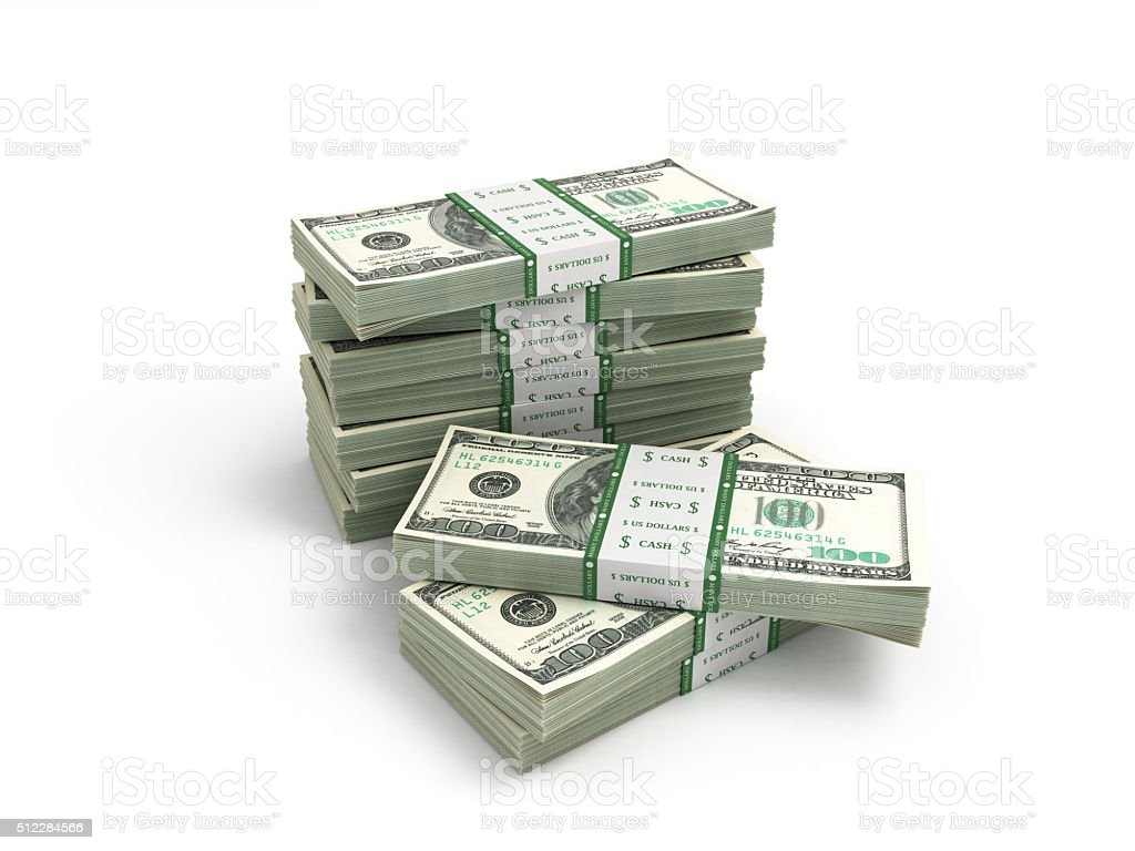 pack of dollar bills isolated on white stock photo