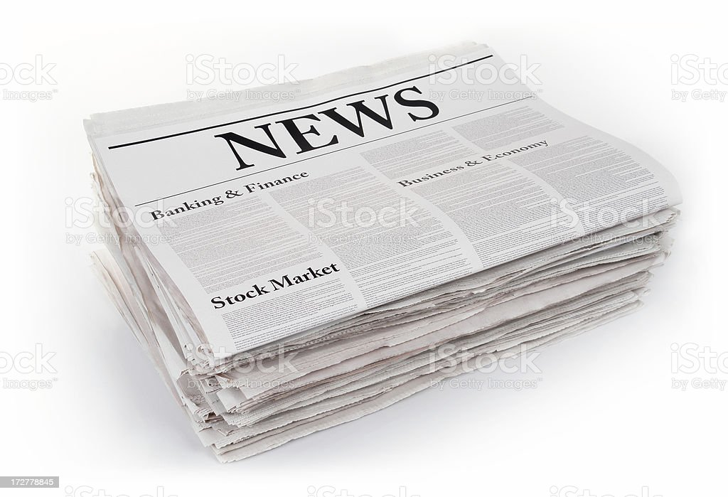 Pack of Folded Newspapers stock photo