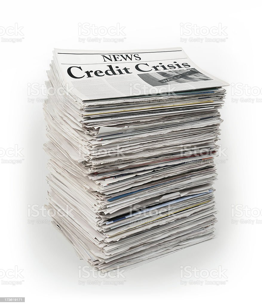 Pack of Folded Newspapers with Credit Crisis Headline stock photo