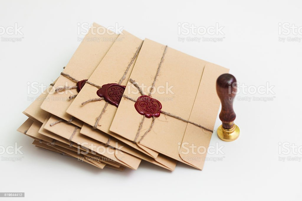 Pack of letters with stamp stock photo