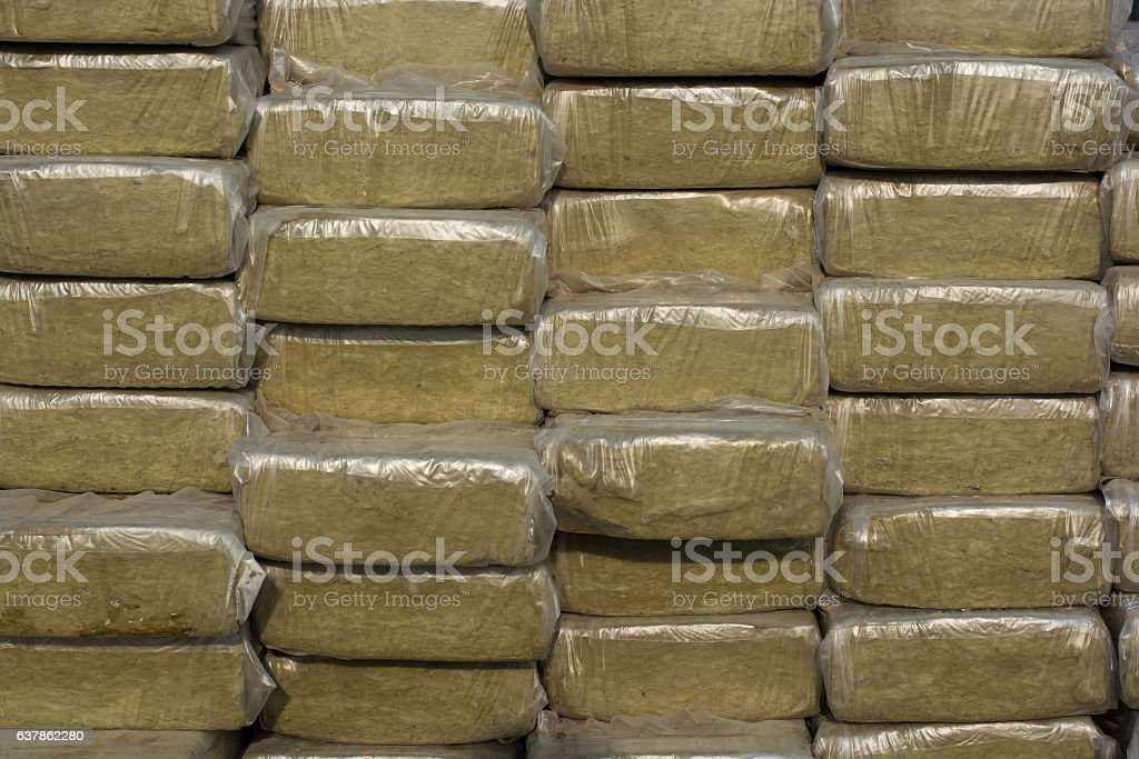 Pack of mineral wool stock photo