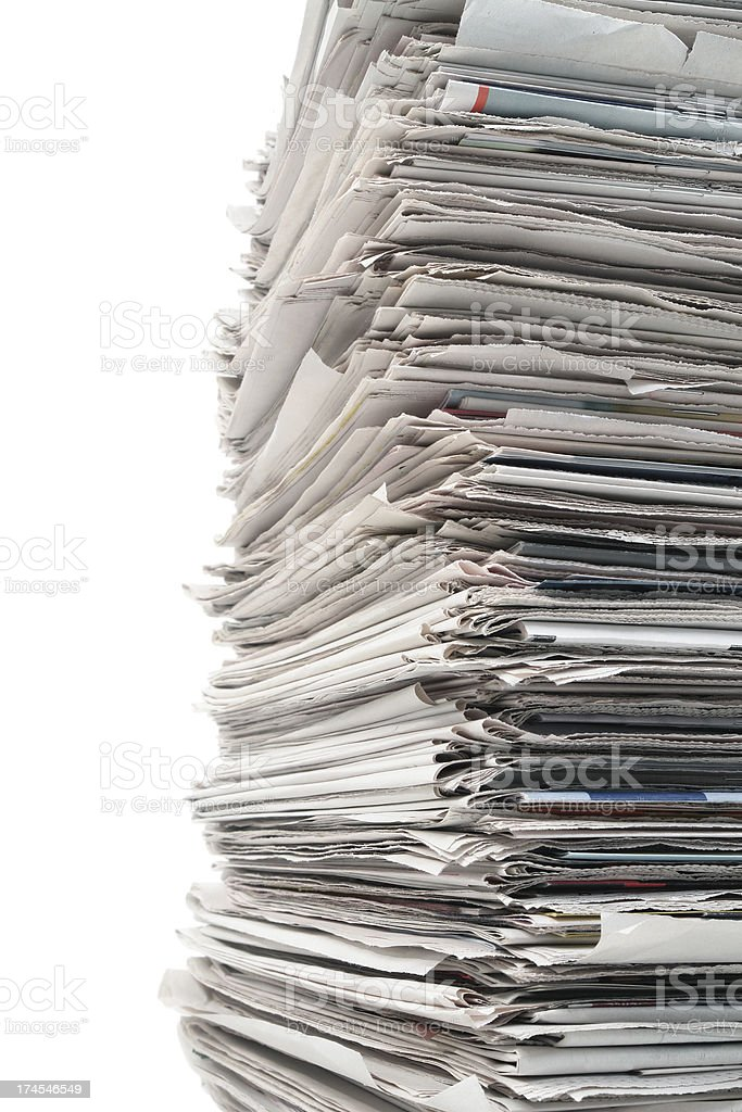 Pack of Old Folded Newspapers royalty-free stock photo