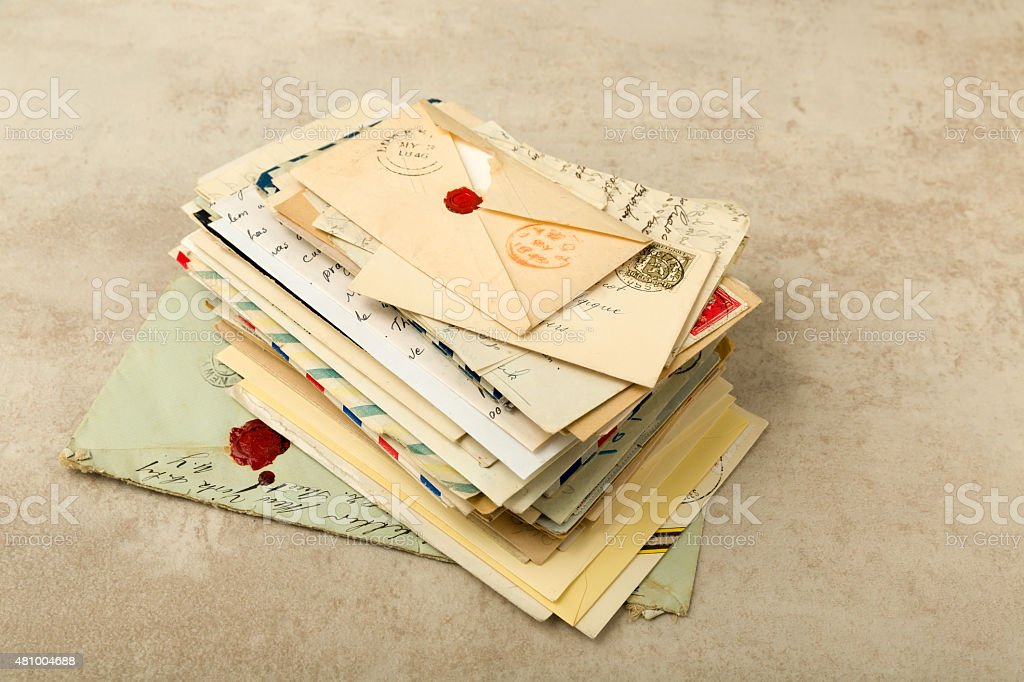 Pack of old letters stock photo