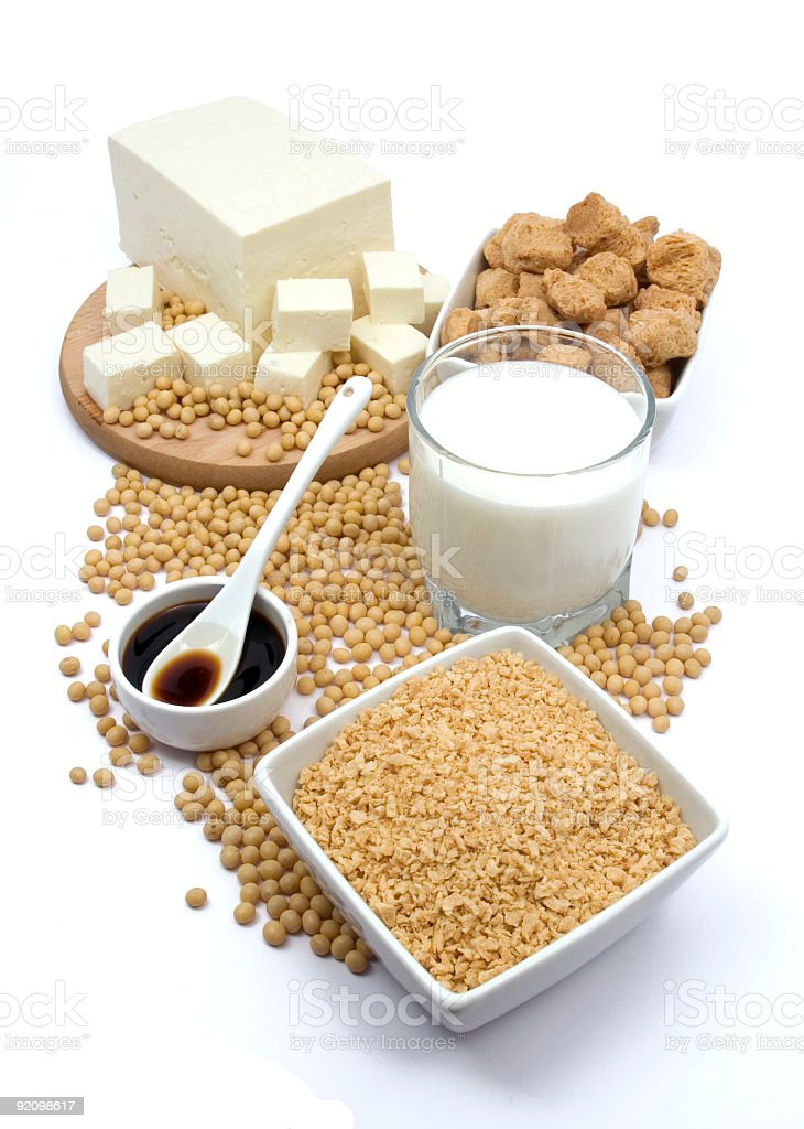 A pack of soil products Grain, milk, cheese and meat  stock photo