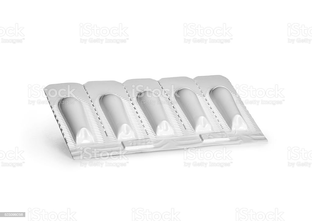 pack of suppositories isolated on white stock photo