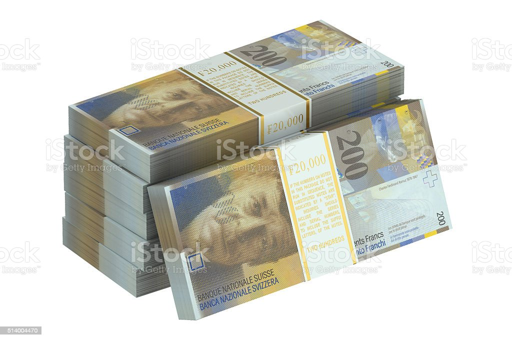 pack of swiss franc stock photo