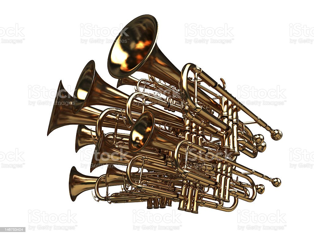 pack of trumpets - noise symbol royalty-free stock photo