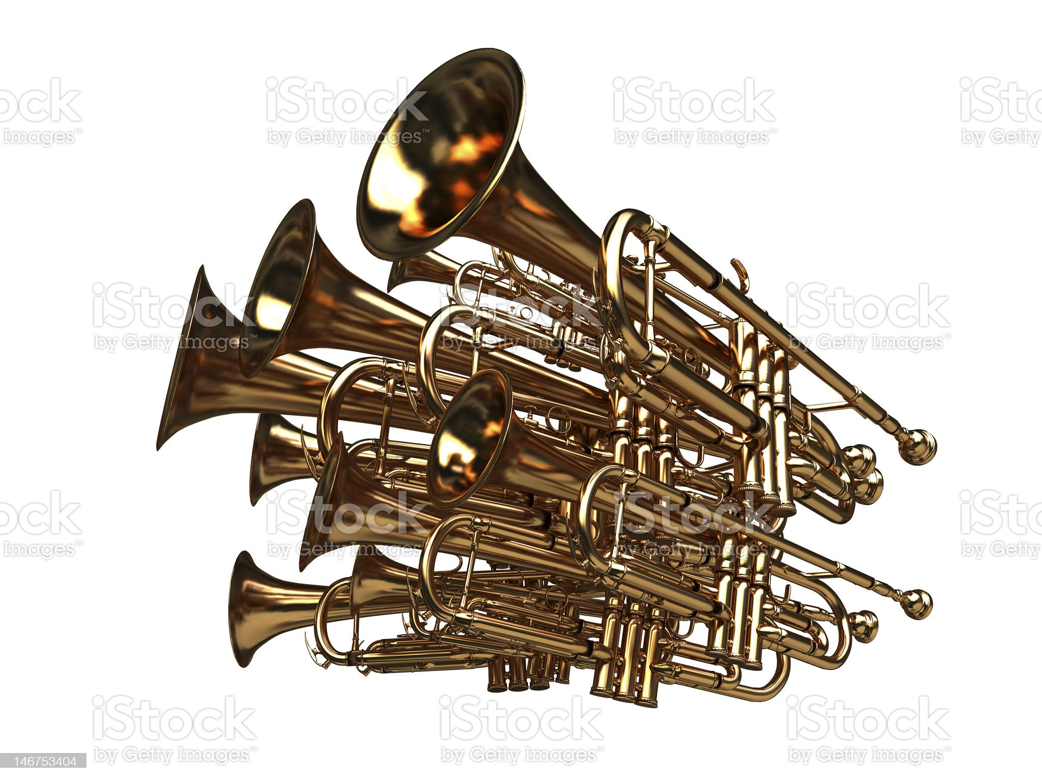 pack of trumpets - noise symbol royalty-free stock vector art