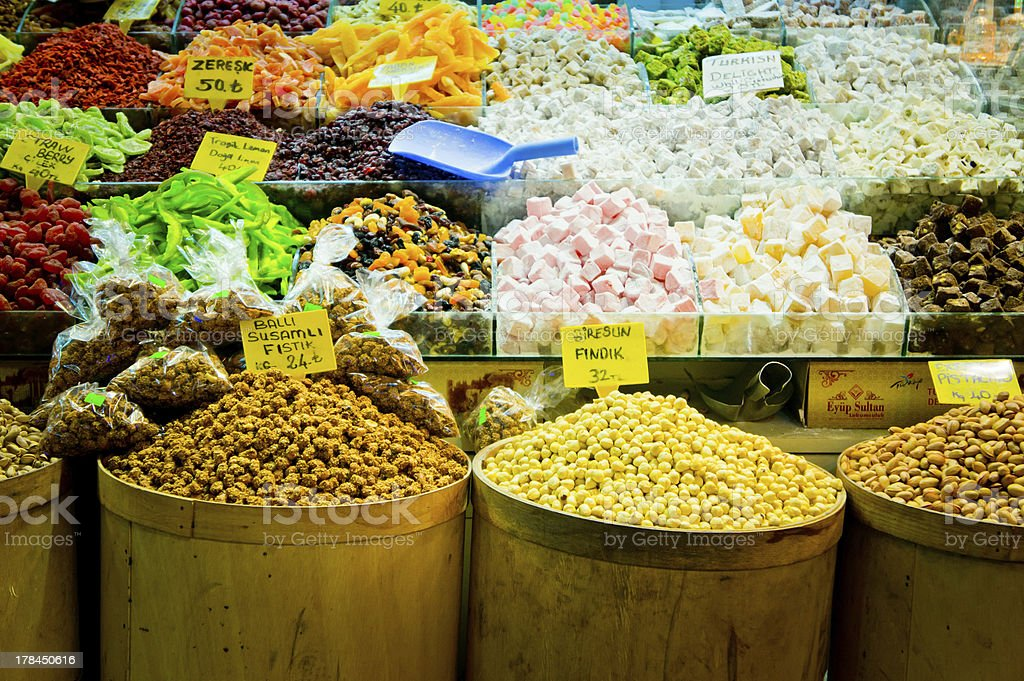Pack of variety spices on Istanbul market, Turkey royalty-free stock photo