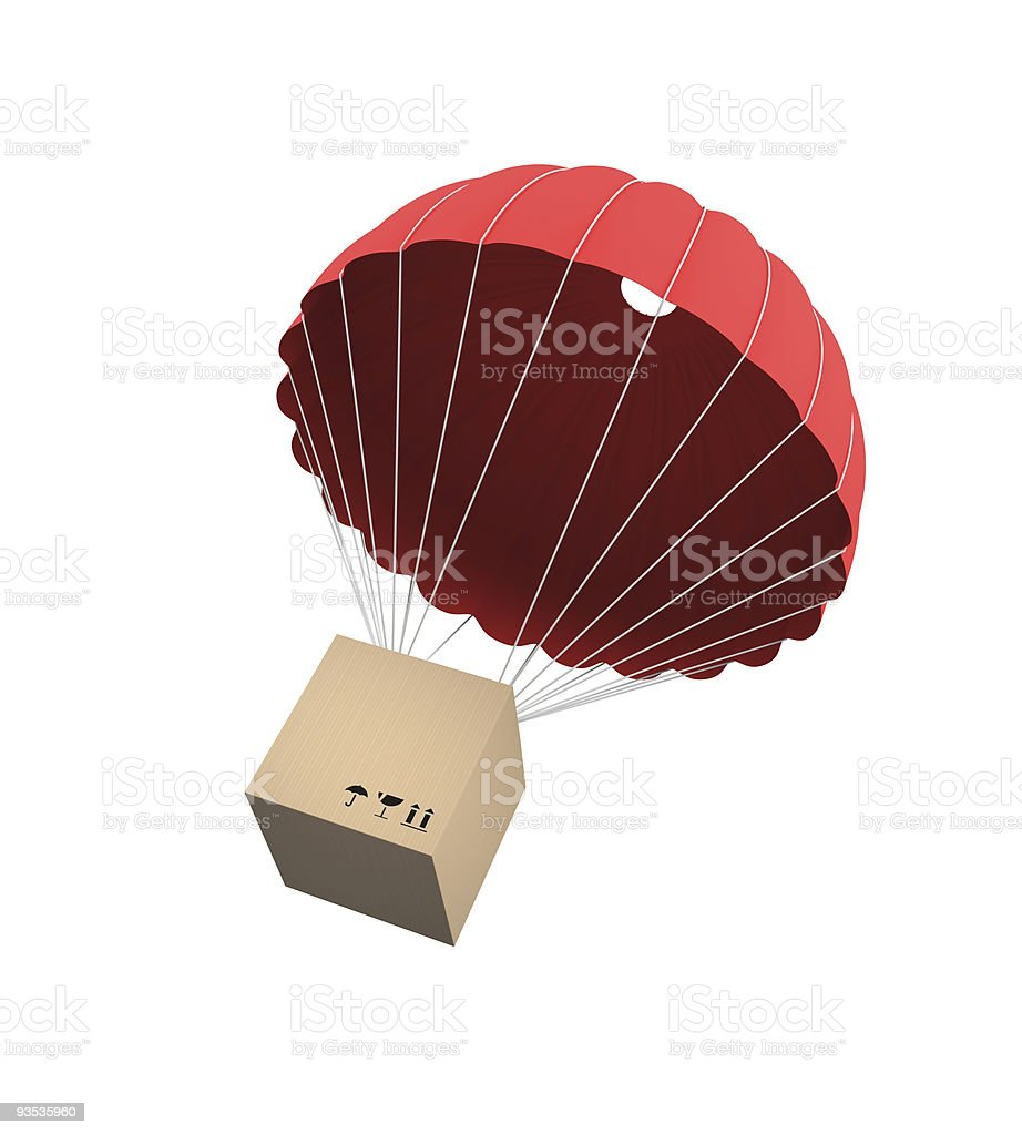 Package being delivered via balloon stock photo