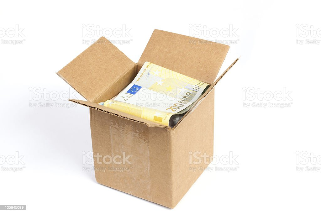 Package box with euro royalty-free stock photo