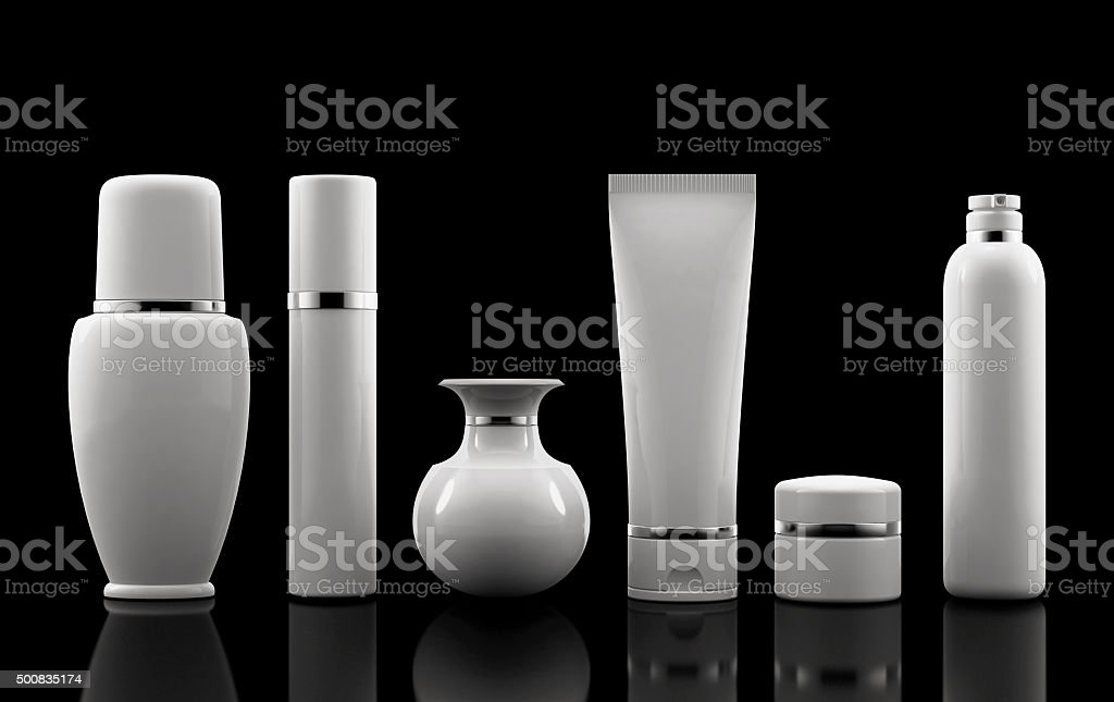 Package Cosmetic white set stock photo