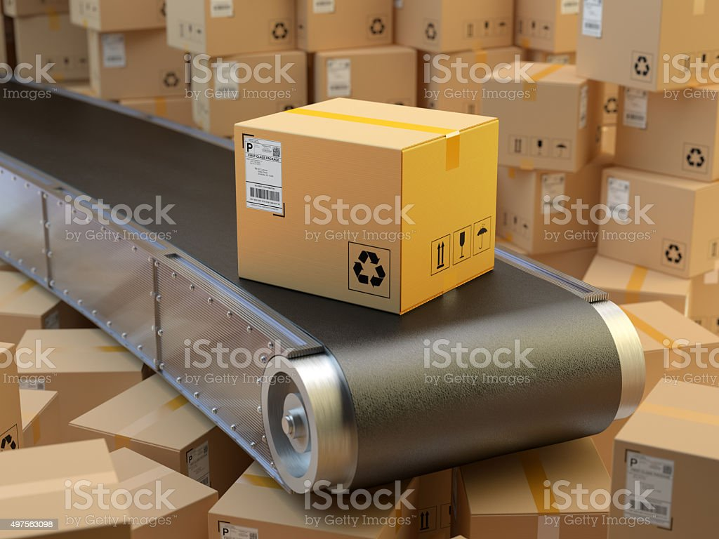 Package delivery, packaging service and purchases transportation system concept stock photo