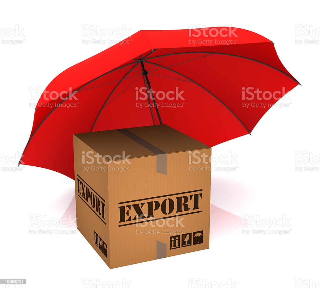 Package Export and Umbrella royalty-free stock photo