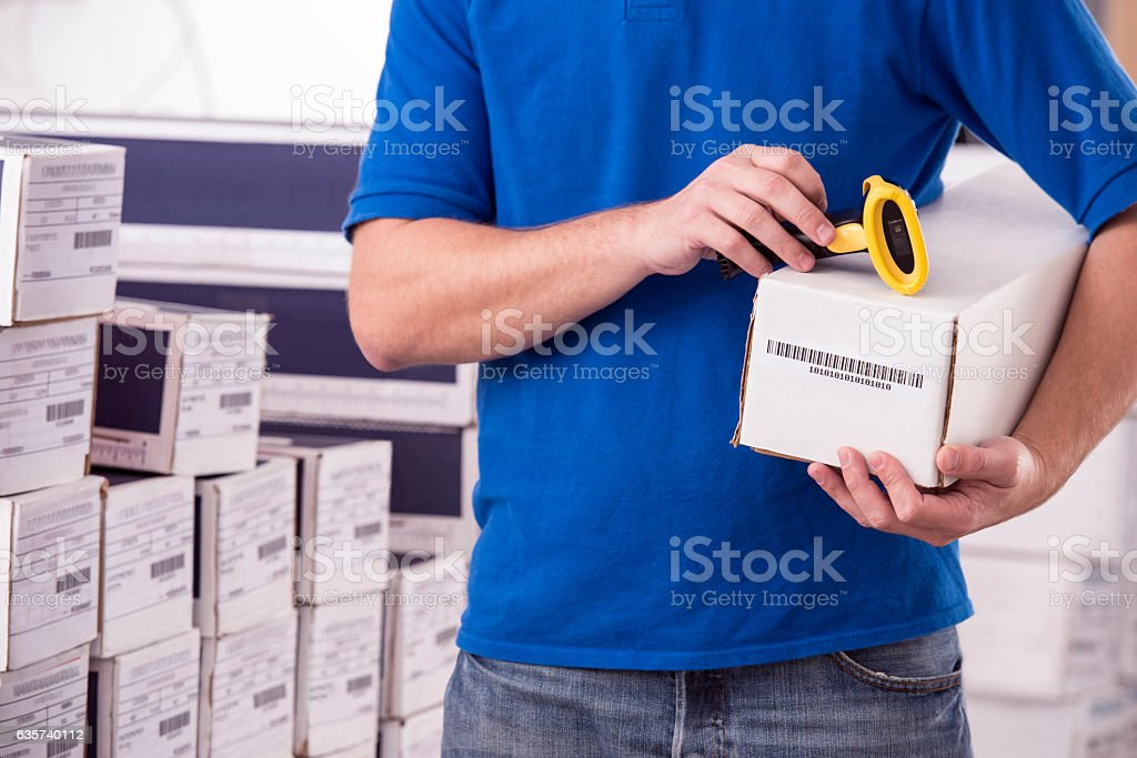 Package ready for shipment. stock photo