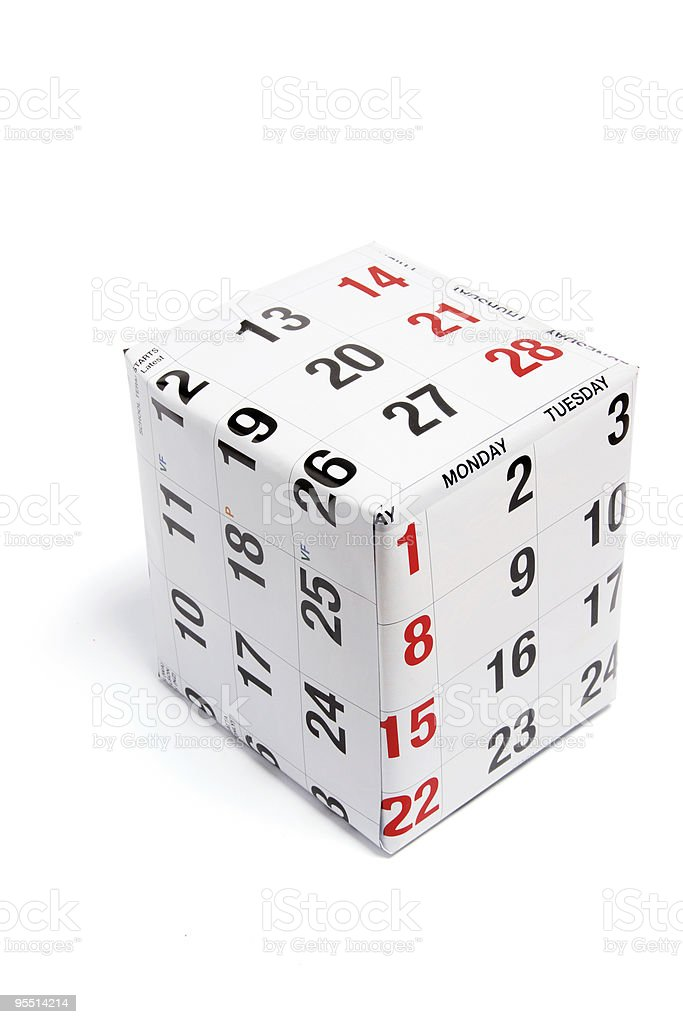 Package Wrapped with Calendar Page royalty-free stock photo