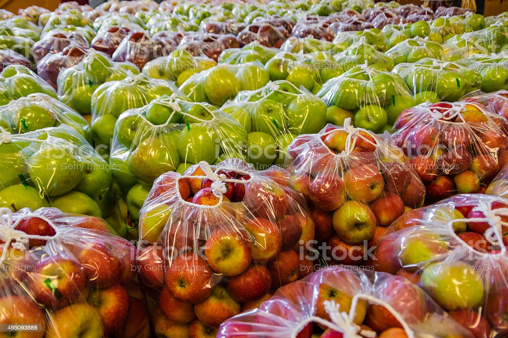 Packaged Apples stock photo