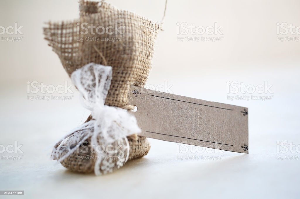 Packaged gift item with empty label stock photo