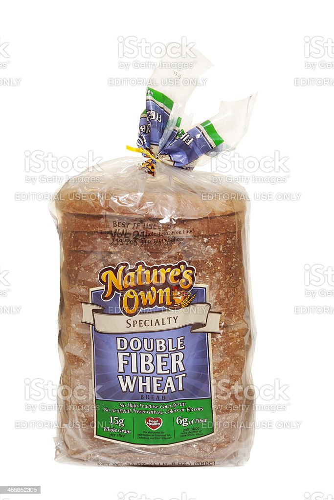Packaged Loaf of Double Fiber Whole Wheat Bread royalty-free stock photo