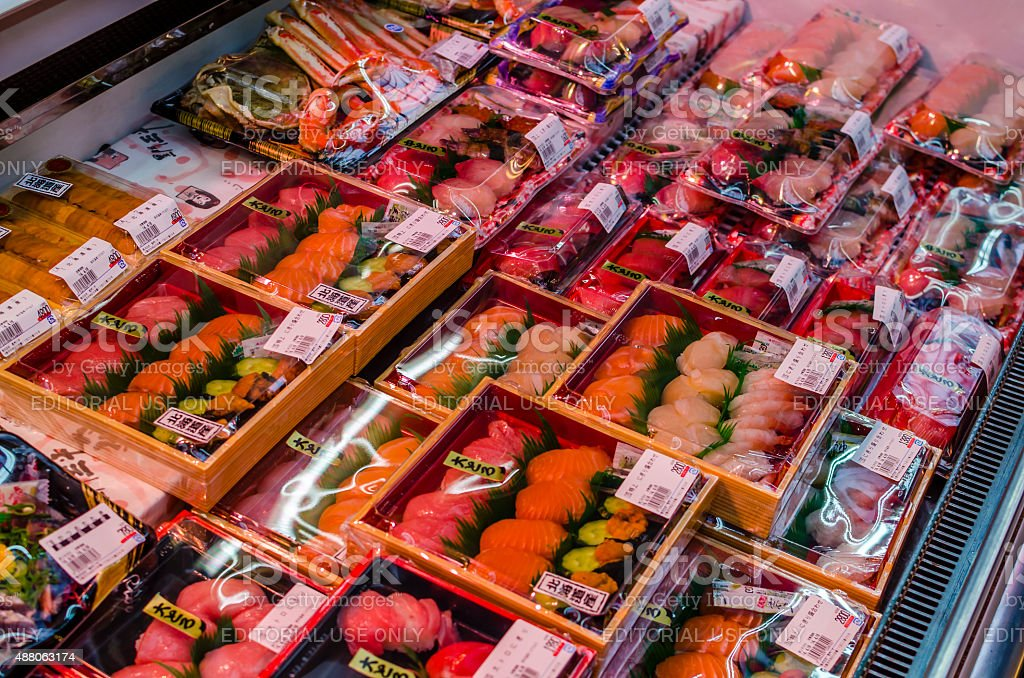 Packaged sushi in Kuromon market - Osaka , Japan royalty-free stock photo