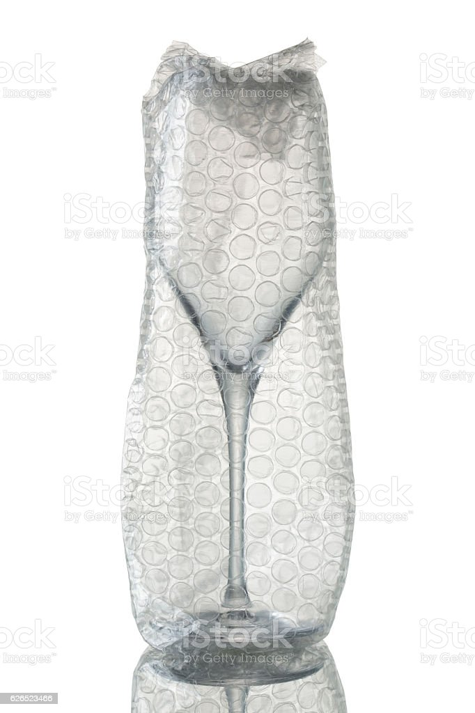Packaged wine glasses stock photo