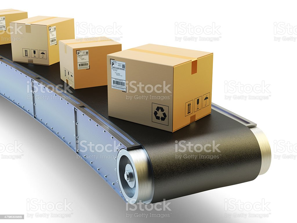Packages delivery and mail service shipment concept stock photo
