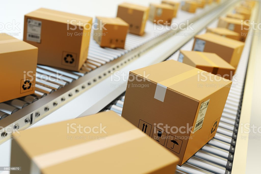 Packages delivery, packaging service and parcels transportation system concept stock photo