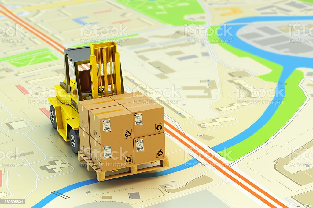 Packages shipment, logistics and cargo delivery concept stock photo