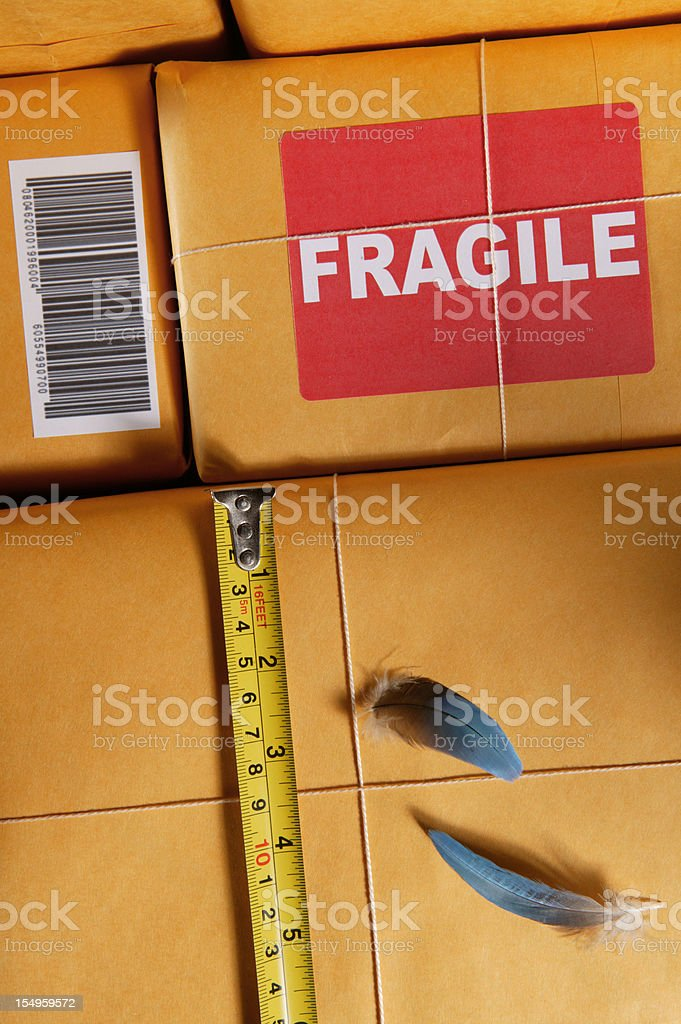 packaging for shipping weight and mesurement royalty-free stock photo