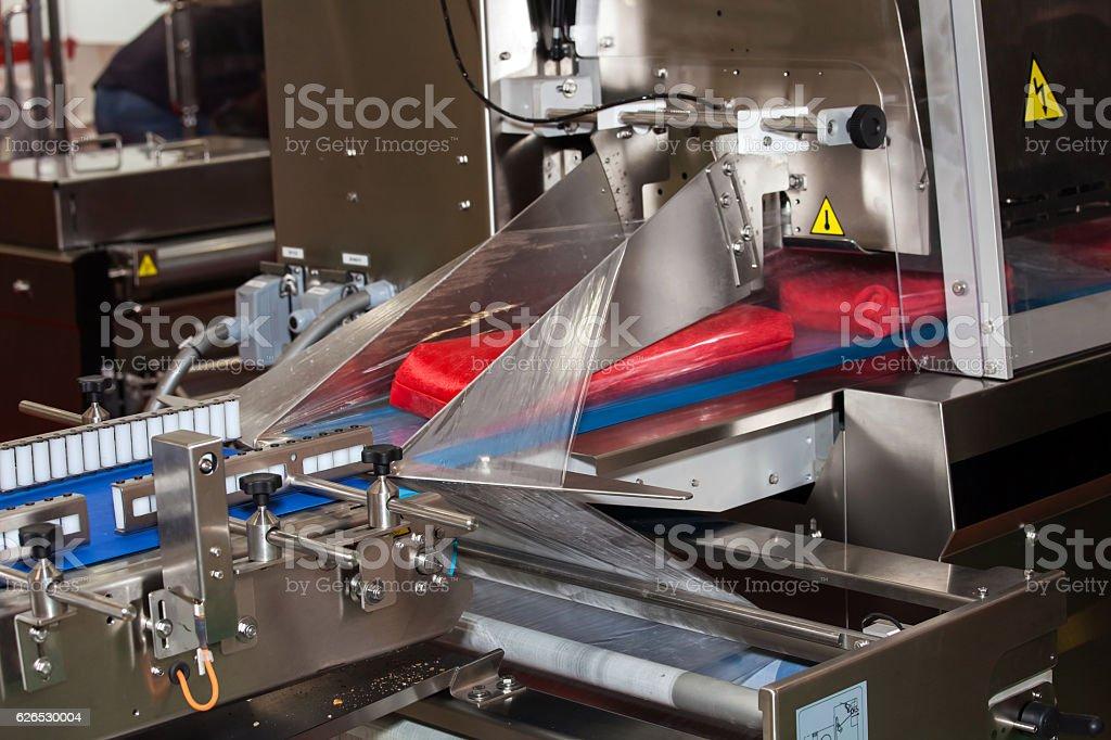 Packaging line machine stock photo