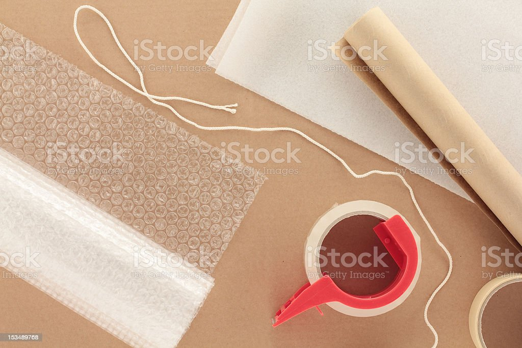 Packaging Materials with String stock photo