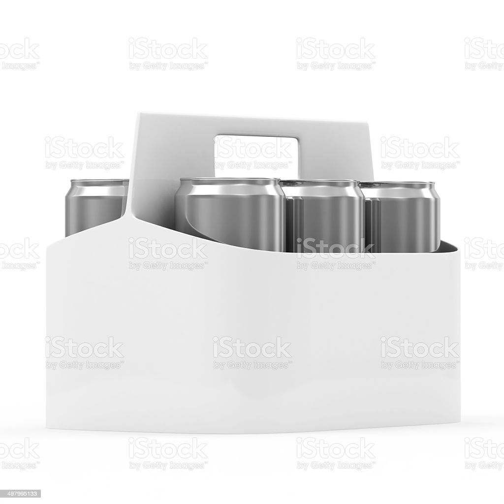 Packaging of Beer Cans isolated on white background stock photo