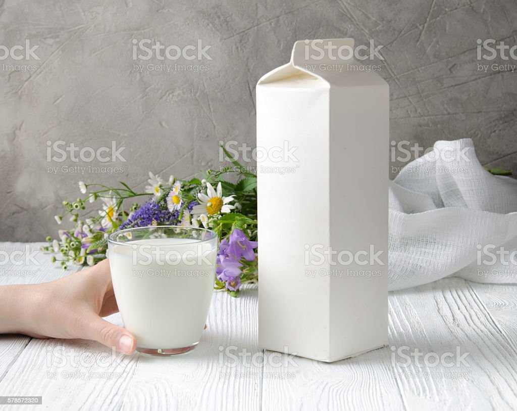 Packaging of milk. stock photo