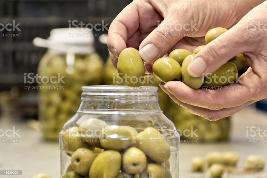 Packaging of olive stock photo