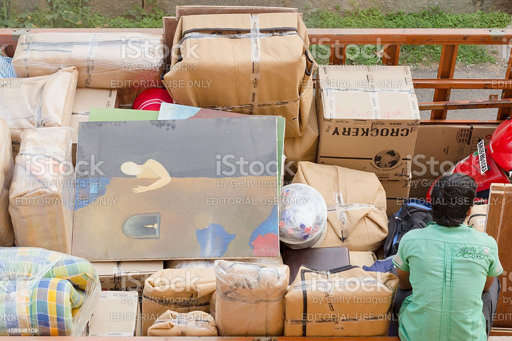 Packed for relocation royalty-free stock photo