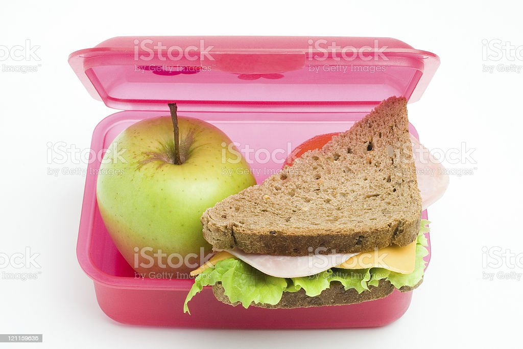 packed lunch stock photo