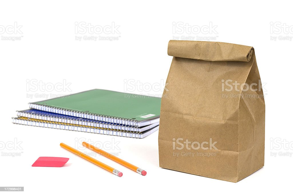 Packed Lunch with School Supplies royalty-free stock photo