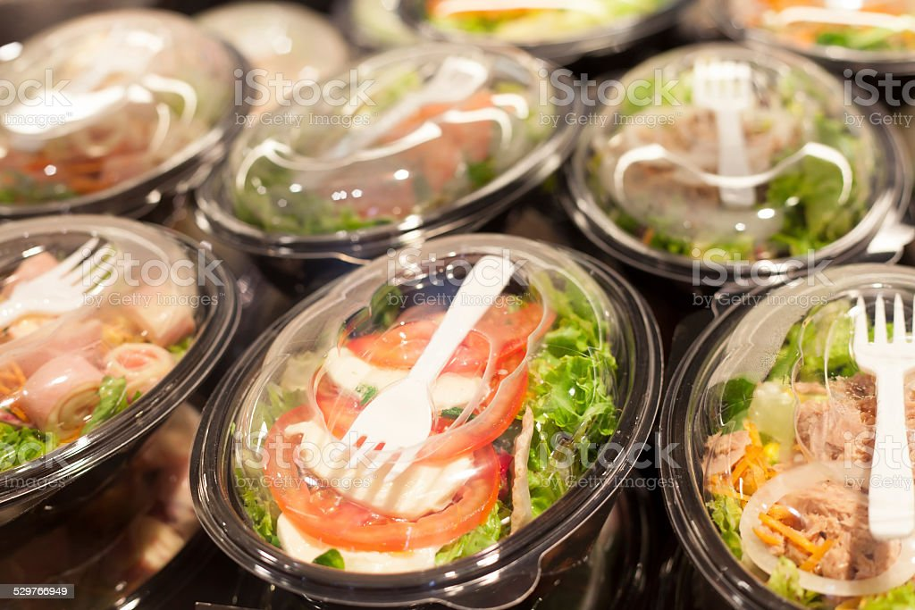 packed salads stock photo