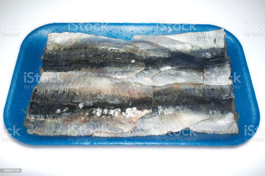 Packed tray of sardine filets from Northeast Atlantic, Spain stock photo