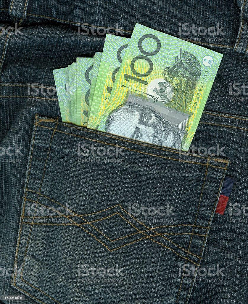 Packet Full of Australian 100$ stock photo