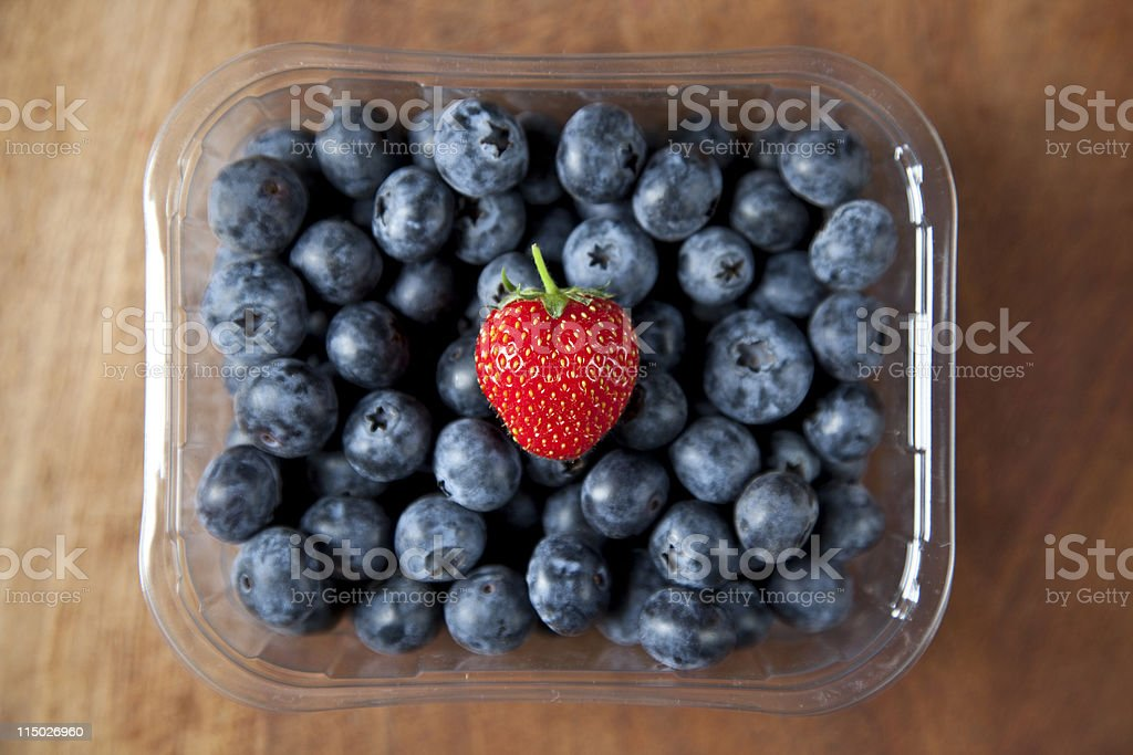 Packet of blueberries stock photo