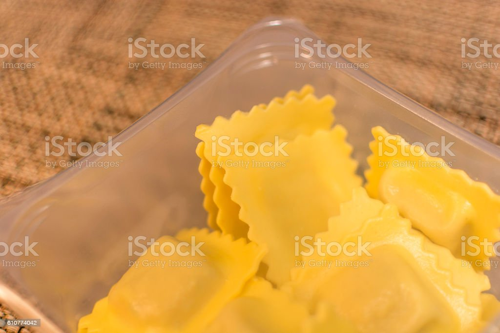 Packet of filled pasta stock photo