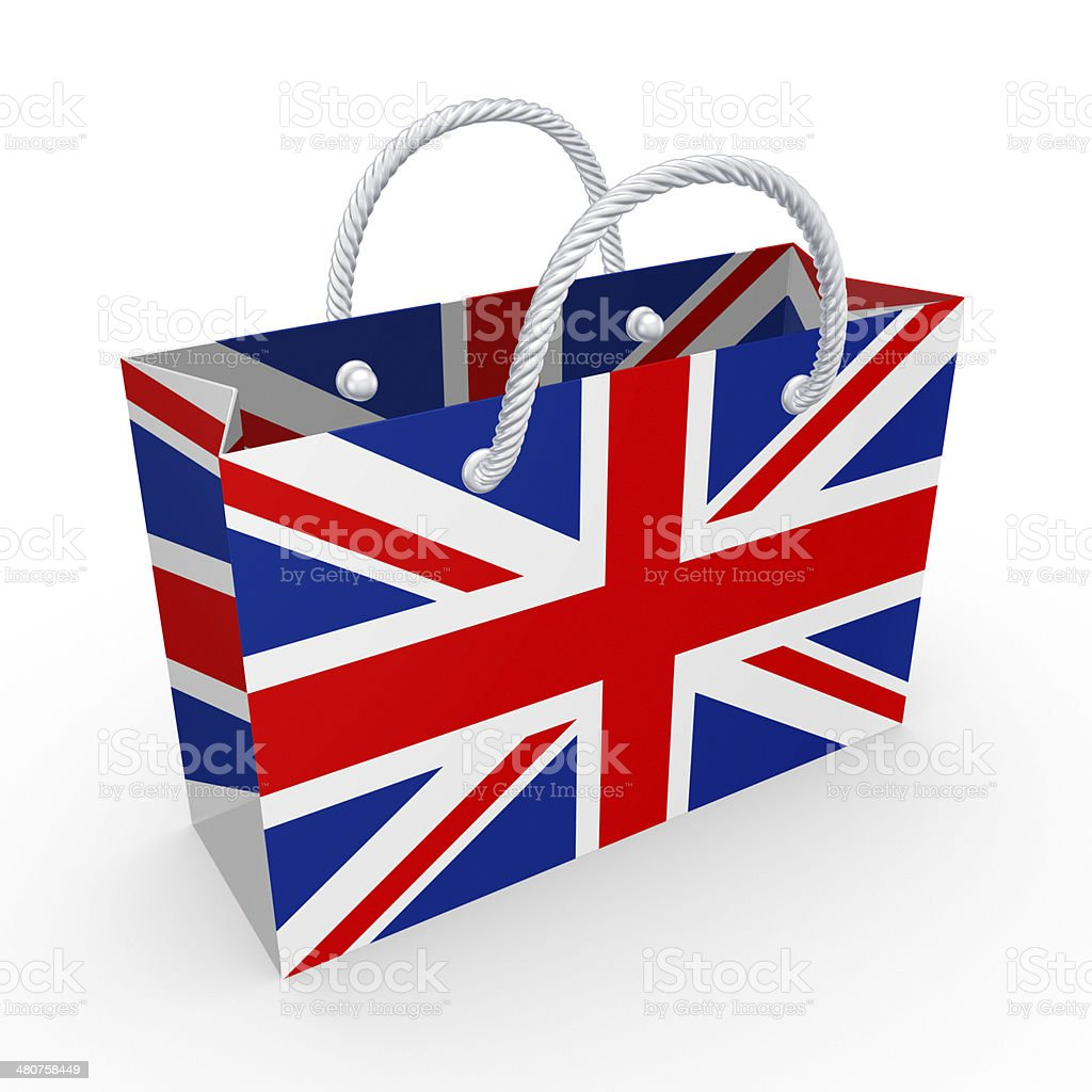 Packet with flag of UK. royalty-free stock photo