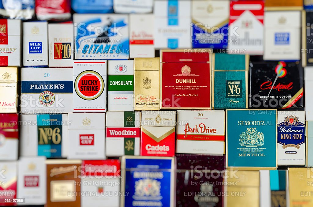 Packets of Old Cigarette Boxes stock photo